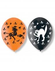 6 balões em látex gatos e feiticeiras Halloween