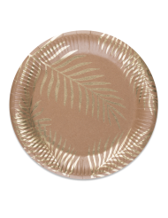 8 Pratos de cartão kraft Palmeira dourada 23 cm