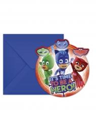 6 Convites com envelopes Pj Masks™ 14 x 9 cm