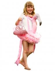 Disfarce às costas de flamingo rosa menina