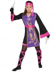 Disfarce ninja cor-de-rosa e lilás menina