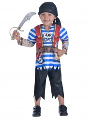 Disfarce pirata às riscas azuis menino