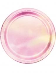 8 Pratos pequenos de cartão cor-de-rosa iridescentes 18 cm