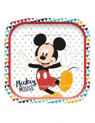 4 Pratos de cartão quadrados premium Mickey™ 24 x 24 cm