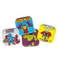 4 Pratos de cartão premium Avengers™ pop comic