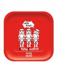 4 Pratos de cartão quadrado premium Star Wars™ 24 x 24 cm