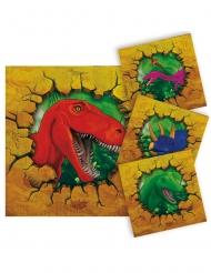 16 Pequenos guardanapos de papel Dinossauros