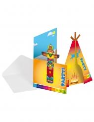8 Convites de cartão Índio com envelopes 12 x 22 cm