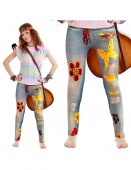 Legging azul flower power adulto