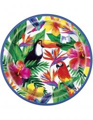 8 Pratos de cartão Palm Tropical Luau 23 cm