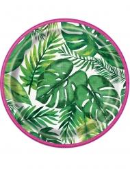 8 Pratos pequenos de cartão Palm Tropical Luau 18 cm