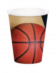8 Copos de cartão Bola de basquetebol 266 ml