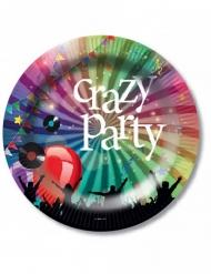 6 Pratos de cartão Crazy Party 23 cm