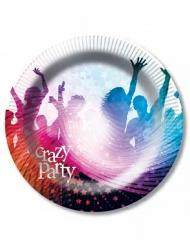6 Pratos de cartão Crazy Party brancos 23 cm
