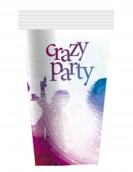 6 Copos de cartão Crazy Party brancos 25 cl