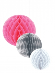 3 Bolas de papel cor-de-rosa, prateado, branco 30/25/20 cm