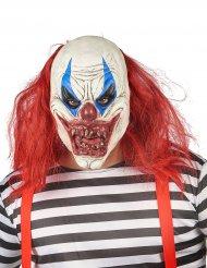 Máscara látex palhaço vermelho e branco adulto