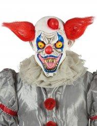Máscara látex palhaço vermelho branco e azul adulto