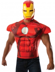 Disfarce peito musculoso com máscara Iron Man­™ adulto