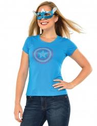 T-shirt com brilhantes e mascarilha Captain America™ mulher