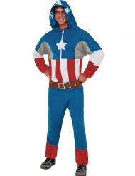 Disfarce macacão com capuz Captain America™ adulto