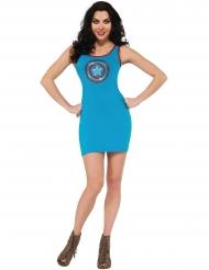 Disfarce vestido com lantejoulas azuis Captain America™ mulher