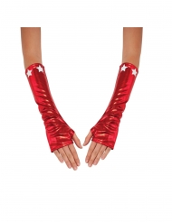 Manguitos metalizados vermelhos Captain America™ mulher