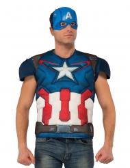 Peito musculoso e máscara Captain ™ adulto