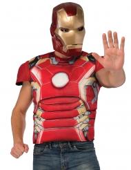 Peito musculoso e máscara Iron Man™ adulto