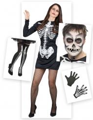Pack disfarce esqueleto mulher