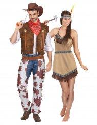 Disfarce de casal cowboy e índia adultos