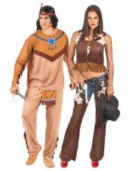 Disfarce de casal índio e cowgirl adultos