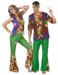 Disfarce de casal Hippie flower adultos