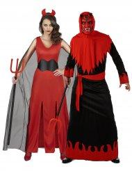 Disfarce de casal demoníaco adulto