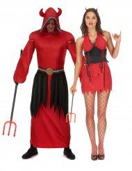 Disfarce de casal diabo vermelho adulto Halloween