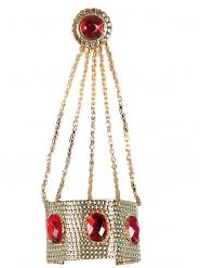 Pulseira com anel dourado e pedras vermelhas mulher