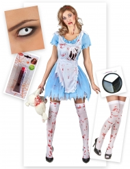 Pack disfarce Alice zombie mulher Halloween
