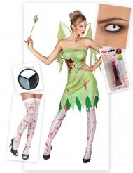 Pack disfarce fada verde sangrenta mulher Halloween