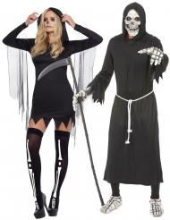 Disfarce de casal Senhor da morte adulto Halloween