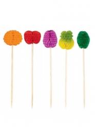 50 Palitos em papel frutas multicolores