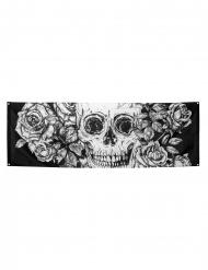 Decoração de tecido esqueleto com flores 74 x 220 cm