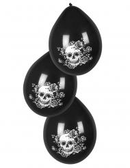 6 Balões de látex esqueleto com flores