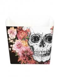 6 Tigelas de cartão Esqueleto com flores