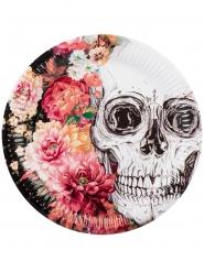 6 Pratos de cartão esqueleto com flores