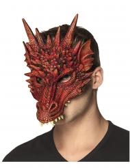 Meia máscara em espuma dragão vermelho adulto