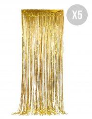 Kit de 5 cortinas cintilantes douradas