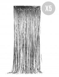Kit de 5 cortinas cintilantes prateadas