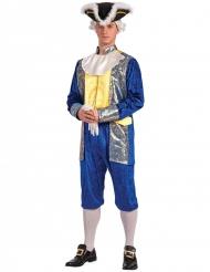 Disfarce marquês homem azul e dourado