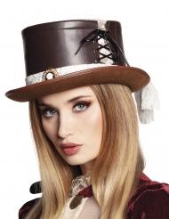 Chapéu luxo castanho com renda mulher Steampunk