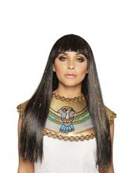 Peruca comprida preto e dourado rainha do Nilo mulher